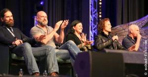 Duncan Lacroix (Murtagh Fraser), Graham McTavish (Dougal MacKenzie), Diana Gabaldon, Sam Heughan (Jamie Fraser), Gary Lewis (Collum MacKenzie), Foto: Tobias Schad