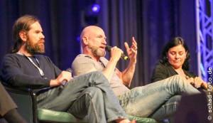 Duncan Lacroix (Murtagh Fraser), Graham McTavish (Dougal MacKenzie), Diana Gabaldon, Foto: Tobias Schad