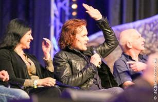 Diana Gabaldon, Sam Heughan (Jamie Fraser), Gary Lewis (Collum MacKenzie), Foto: Tobias Schad