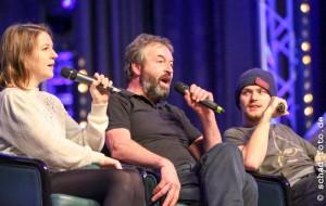 Gemma Whelan (Yara Greyjoy), Ian Beattie (Ser Meryn Trant), Finn Jones (Loras Tyrell), Foto: Tobias Schad